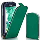 moex Samsung Galaxy S3 Mini | Hülle Dunkel-Grün 360° Klapp-Hülle Etui thin Handytasche Dünn Handyhülle für Samsung Galaxy S3 Mini S III Case Flip Cover Schutzhülle Kunst-Leder Tasche