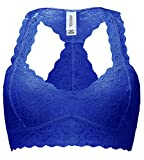 ANGOOL Damen Lace Bralette Spitze BH Bustier Ungepolsterte Cups (Large, Marine (padded))