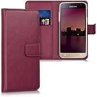 kwmobile Hülle für Samsung Galaxy J3 (2016) DUOS - Wallet Case Handy Schutzhülle Kunstleder - Handycover Klapphülle mit Kartenfach und Ständer Bordeaux