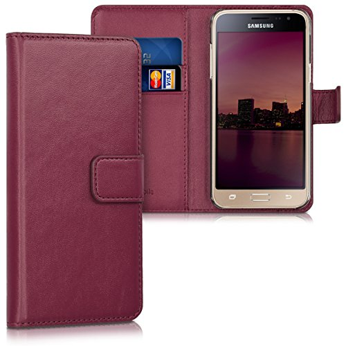 kwmobile Samsung Galaxy J3 (2016) DUOS Hülle - Kunstleder Wallet Case für Samsung Galaxy J3 (2016) DUOS mit Kartenfächern & Stand - Bordeaux