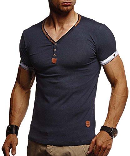 LEIF NELSON Herren T-Shirt V-Ausschnitt Sweatshirt Longsleeve Basic Shirt Hoodie Slim Fit LN1390; Größe XL, Blau