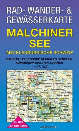 Rad-, Wander- und Gewässerkarte Malchiner See - Mecklenburgische Schweiz: Mit Thürkow, Groß Markow, Teterow, Malchin, Dahmen, Basedow. Mit UTM-Gitter für GPS. Maßstab 1:35.000.
