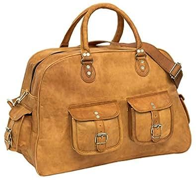 """Gusti Cuir nature """"Luca"""" sac de sport sac de voyage sac en bandoulière bagage à main léger bagage taille cabine sac en cuir véritable sac porté main et épaule marron R39b"""