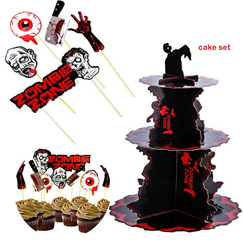 Halloween Zombie Party Cupcake Display Ständer & blutige Topper Cake Picks Tischdekoration Strick - Obst Dessert Papier Cupcake Stick Dekoration für Kinder Geburtstag Mottoparty