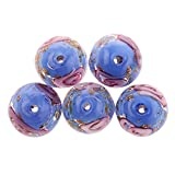 #10: Magideal 5x Flower Handmade Lampwork Gold Sand Beads Jewelry Making-Blue