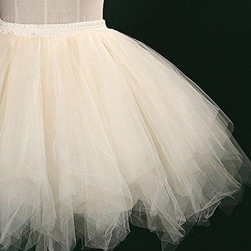 Feoya Damen Tutu Unterkleid 50er Retro Petticoat Kurz Ballett Tanzkleid Party Minirock Mehrschichtige Tüllrock Tütü Cosplay Unterrock Beige