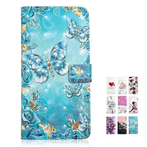 Rose-Otter Kompatibel für Samsung Galaxy S8 Hülle Leder Handyhülle Wallet Flip Case Kartenfach Klappbar Stoßfest Schutzhülle Tasche mit Muster Gold Blau Blumen Schmetterling -