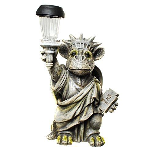 Drachenkind Freiheitsstatue mit Solar Laterne Drache Figur Gartenfigur