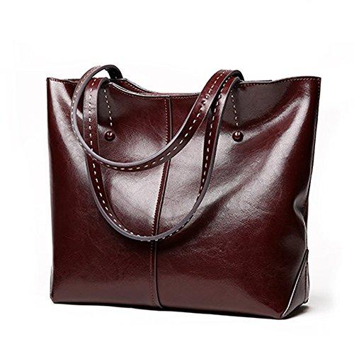 Dissa Q0898 Damen Leder Handtaschen Satchel Tote Taschen Schultertaschen Kaffee