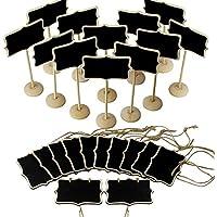 JER 24X Schreibens Brett Kreidetafeln Anmeldung mit Ständer Wood |12st Mini Tafel mit hängenden Burlap Seil |12st für Feiern Table Top Numbers Lebensmittel Zeichen und Dekorieren Schilder OfficeProducts