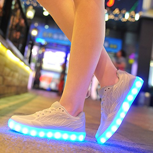 Oasap Damen Fashion USB Aufladung 7 Farben LED Sneakers White