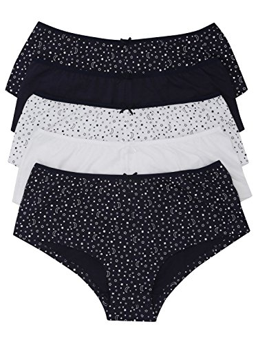 M&Co Ladies Soft Cotton Stretch Plain and Star Print Hipster Boxer Briefs - Five Pack