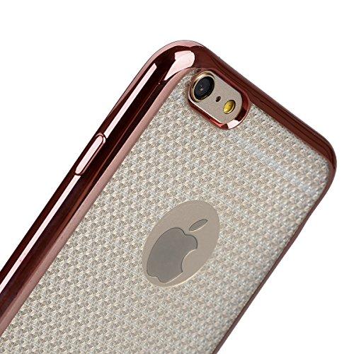 Ukayfe iPhone 6/6S plus 5.5 Copertura, Moda Confine di Placcatura Design di Bling Custodia Bumper Ultra Slim Morbido Soft TPU Gel Silicone Elegante Trasparente Flessibile Antiurto Cassa Protettivo Ski Rose Gold 4#