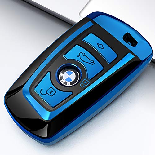 COVELL For BMW Key Fob Cover, Full Protection Soft TPU Key Fob Case  Compatible with BMW Keyless Remote Control Smart Key 1 3 4 5 6 7 Series and  X3 X4