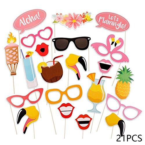 Sunsline 21 Stück Flamingo Tropical Sommer Huhn Photo Booth Requisiten Hawaii Karneval Party Dekoration Photobooth Geburtstag Lieferungen