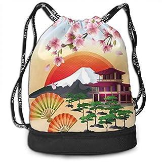 LULABE Printed Drawstring Backpacks Bags,Sakura Blossom Art with Flying Petals Fans Bonsai Pagoda Mountain Rising Sun,Adjustable String Closure