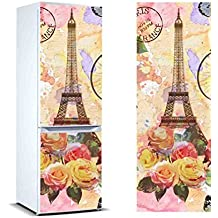 Pegatinas Vinilo para Frigorífico Pintura Torre Eiffel flores | Varias Medidas 185x70cm | Adhesivo Resistente y de Fácil Aplicación | Pegatina Adhesiva Decorativa de Diseño Elegante