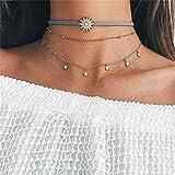 Elistelle Halskette Choker Mehrreihig Kette mit Anhänger Sonne Steren Muster Halsband