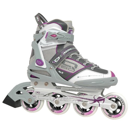 -60Damen Inline Skates, Mädchen Unisex Damen Herren Jungen, Grey/White/Purple ()