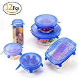 ANPHSIN 12 PCS Durable Silicone Stretch lid - Expandable Food Cover for Bowel, Can, Jar, Glassware ( 6 Sizes)