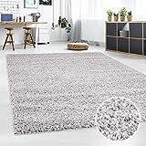 carpet city Teppich-Shaggy, Flauschiger Hochflor Wohn-Teppich, Einfarbig/Uni in Grau für Wohnzimmer, Schlafzimmmer, Größe in cm:100 x 200 cm