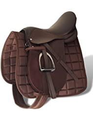"""90647 Horse Riding Saddle Set 17,5"""" Real Leather Brown 12 cm 5-in-1 - Untranslated"""