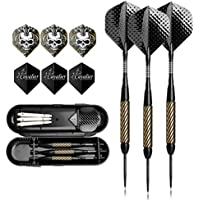 hopefultech Dartpfeile, Steeldart 3 Stück Set mit Hard Box Case, Aluminium Wellen, Gold Beschichtete Metallfässe FB4
