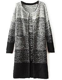 BININBOX® Damen Fashion Rundkragen Langarm trendigem Farbverlauf Strick Pullover Mantel lange Strickjacke Outerwear Mantel