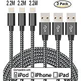 Flashstye 3 Pack 2.2M Phone Charging Nylon Braided Lightning to USB Cable Apple lightning cable for iPhone 7 Plus 6S Plus 6 Plus SE 5S 5C 5, iPad 2 3 4 Mini,iPad Pro Air, iPod.(Black Grey)