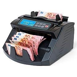 Stückzahlzähler Geldzählmaschine Euro Geldscheine SR-3750 LCD UV/MG/IR von Securina24® (Schwarz - LCD)
