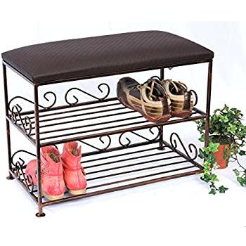 schuhregal mit sitzbank bank 60cm schuhschrank aus metall schuhablage schuhbank amazon. Black Bedroom Furniture Sets. Home Design Ideas
