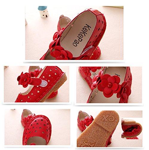 Gaorui Baby Mädchen Riemchenballerina Geschlossene Ballerinas für Prinzessin mit Blumen weich Sohle 3 Farben Rot