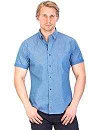 Mens VICTORY - Blue Slim Fit Half Sleeves Dotted Shirts par Gear