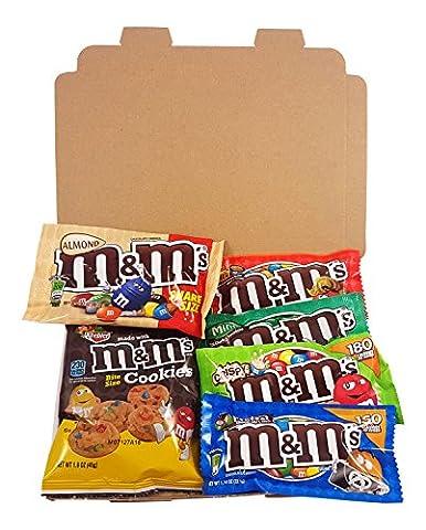 Mini Coffret cadeau M&M's Américain| Boîte American Candy, Chocolat | Sélection de confiseries chocolats authentiques |Coffret cadeau vintage