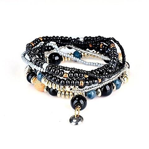 Emerald Bead Bangle Bracelet Fashion 1 Set Stretch Acrylic Beaded Bohemian Lady Multiple Layers Bangle Jewelry Lanspo (D)