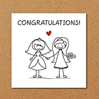 LESBIAN ENGAGEMENT WEDDING Card - LGBT Gay Rude getting married - Congratulations Card - wed, couple - alternative cheeky - handrawn