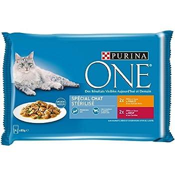 PURINA ONE Spécial Chat Stérilisé : au Poulet et au B½uf - 4 x 85 g  - Sachets fraîcheur pour chats adultes - Lot de 12 (48 sachets fraicheur)