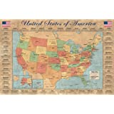 Les 50 états des États-Unis Poster grand format 91.5 x 61 cm