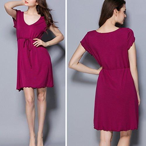 Zhhlaixing Women's Ladies Modal Fabric Nightwear Nightgown Chemises Camicia da nottees Bedroom Rest Sleepwear Comfy nighties Purple