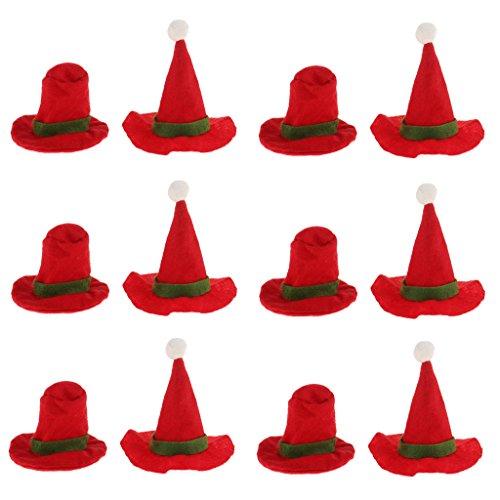 Blesiya 12x Copertura Di Bottiglia Di Vino Mini Cappellino Di Babbo Natale Rosso Carino