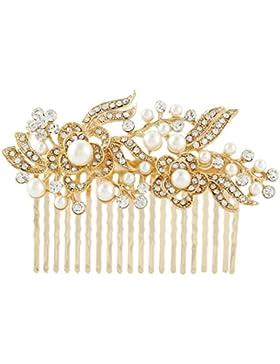 EVER FAITH® österreichischen Kristall Künstliche Perlen blume Braut Haarkamm Haarschmuck Gold-Ton