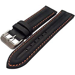 Black & Orange Genuine Leather Water Resistant Watch Strap Band 22mm
