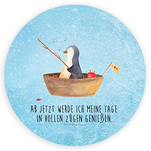 Mr. & Mrs. Panda Aufkleber, Etikett, 40mm Rund Aufkleber Pinguin Angelboot mit Spruch - Farbe Eisblau