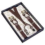Frau / Mann Hosenträger Moderne Einstellbare und Hohe Qualität KANGDAI 6 Clips mit Y-Zurück Durable Breite Elastische Straps Hosenträger Abnehmbarer Gürtel für Hosen Hosenträger (Kaffee)