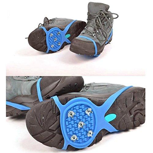 QHGstore 1 Paar 5 Zähne PE Eis Schnee Steigeisen Anti Blockier System Boot Überschuhe Spike Klampen Eis Greifer für Outdoor Klettern Wandern Wandern Blau