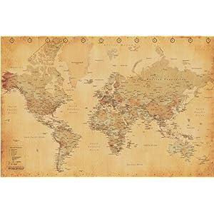 Empire 172143 – Póster de mapa mundi estilo vintage (91,5 x 61 cm)