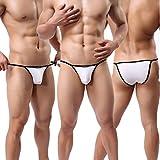 Letsshopping 3 Stück Sexy Herren Dessous Erotik Gay Shorts Mesh Sheer Boxershorts Badehose Unterhose Jugendliche Jungen Männer G-String String Tangas Thong Boxer Slip Unterwäsche