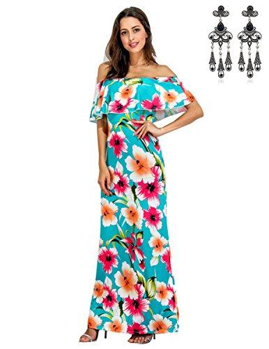 MODETREND Damen Sommerkleid mit Blüte Drucken Volants Trägerlos Abendkleid Partykleid Cocktailkleid Elegante Kleider Grün