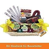 Bauarbeiter Handwerker Geschenk-Korb mit deftigen Delikatessen und Süßigkeiten, Zollstock, antistress Figur Knautschi SQUEEZIES®