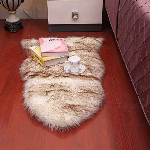 AMON LL Lammfellimitat Teppich, Deko Teppich Lammfell Weiß Schaffell Teppich Longhair Fell Nachahmung Wolle Bettvorleger Sofa Matte,whitegraybrowntip - Natürlichen Läufer Teppich